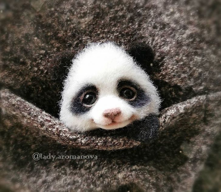 Tiny Animals From Wool - Cute Panda