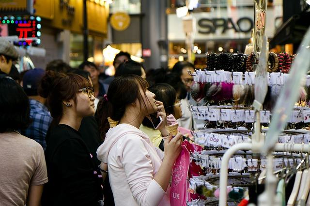 People gathering in south Korea