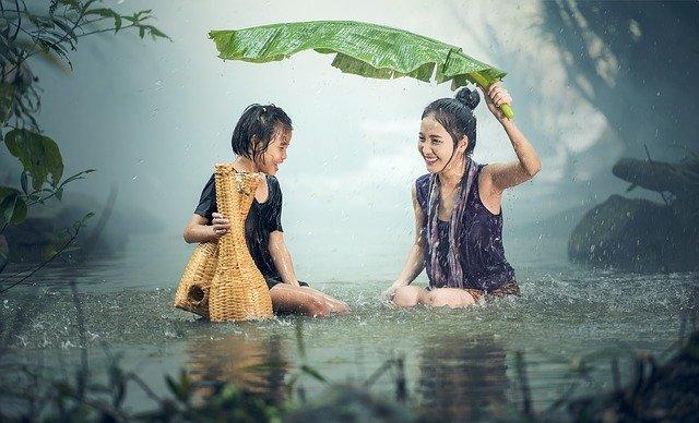 Fun in rain on a rainy day